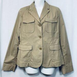 Talbots Women's Blazer Size 10 Beige Tan Khaki Cotton Spandex Pockets Breathable