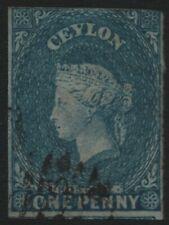 CEYLON-1857 1d Deep Turquoise-Blue Used 3 Margin Example Sg 2 V40216