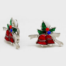 CLIP ON-Silver, red, green bell clip on earrings w/multi colored stones