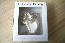 New Fitz & Floyd Deer With Holly Bow Glass Ornaments In Box