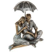 STUNNING Rainy Day Romance Sitting Couple Ornament Figurine 65500 19cms High