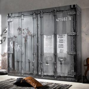 Kleiderschrank Industriedesign Schrank Container Vintage Loftmöbel grau
