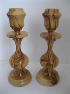 Pair Bethlehem Olive Wood Candle Holders, olivewood Candlesticks