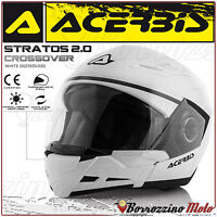 CASQUE ACERBIS STRATOS 2.0 CROSSOVER INTEGRAL/JET BLANC MOTO SCOOTER TAILLE M