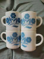 VINTAGE  FEDERAL GLASS COFFEE MUGS WHITE BLUE FLOWERS 4