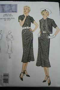 2001 Reprint of VINTAGE VOGUE 1937 Dress & Bolero Pattern FACTORY FOLDS unused!
