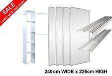 4 Mirror Sliding Wardrobe Doors, Tracks & Interior, White Frame, Stanley Design
