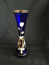 Vintage Hand Painted Flowers on Cobalt Blue Glass w/  24K Gold Filigree Bud Vase