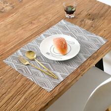 4Pcs Heat-Resistant Placemats Waterproof Anti-Skid Table MatsBrown 11x17inch