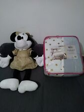 Disney Minnie Mouse Twin/Full Comforter And Doll. Silver / Gold Glitter -Unique