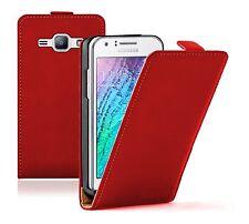 ULTRA Sottile Custodia in Pelle Rossa Samsung Galaxy Duos SM-J100H SM-J100H/DS 2015