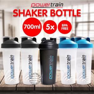 5x 700ml Protein Drink Water Bottle Shaker BPA Blender Workout Gym Running Sport