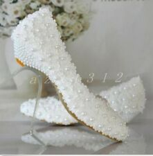 Hot Sale Ladies Lace Beads Round Toe Slip On Bridals Wedge Heel White Shoes Size