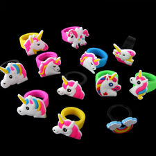 10x Mixed Cartoon Unicorn Pony Silicone Rubber Finger Rings Kids Gifts Jewelry