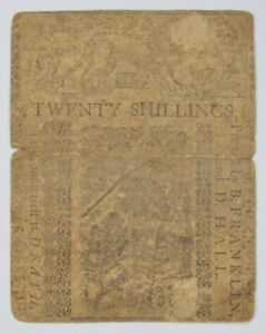 1758 Colonial Delaware 20 Shillings Note- Designed by Ben Franklin! *3281