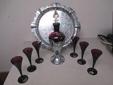VTG Cambridge Glass Amethyst Purple Cordial Set Decanter 6 Flutes & Tray Labels
