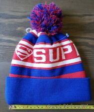 Superman Official Beanie Royal Blue One Size Pom Adult Knit Hat New
