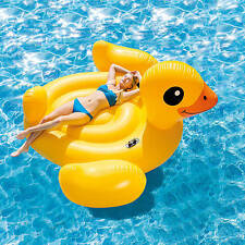 Mega Yellow Duck Island Float Pool Lake Lounger Intex Inflatable