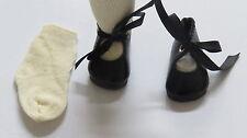 """Chaussures """"Rosette""""   50/24   Simili cuir    Noir        pour poupées anciennes"""