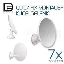 DEUSENFELD SK187 - Saugnapf Kosmetikspiegel Rasierspiegel Spiegel, 7-Fach, ø18cm
