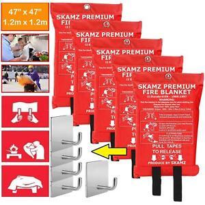 Emergency Fire Blanket 5 Pack Fiberglass Fire Flame Retardant Safety Cover