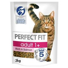 More details for 3kg perfect fit 1+ adult complete dry cat food salmon cat biscuits (4 x 750g)