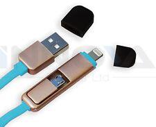 2 en 1 Micro USB Cargador Adaptador De Cable Conector Lightning iPhone Android Azul