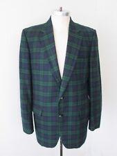 VGC Vtg 80s Preppy Wool Flannel Green Blue Tartan Watch Plaid Blazer Jacket 42L