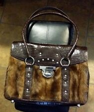 Nice brown  faux fur  and snake skin design purse