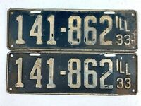 Illinois 1933 Vintage License Plate Pair Nice Antique Car Prewar Set Man Cave