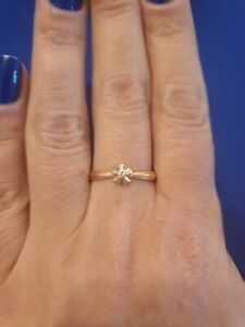 14k Russian Rose Gold And Diamond Flower Ring. Size Q.