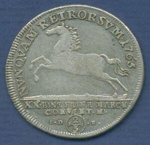 Braunschweig-Wolfenbüttel 2/3 Taler 1765, Carl I., Welter 2733, fast ss (m3019)