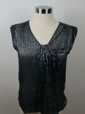 J Crew Womens Sheer Silk Blend V Neck Navy Silver Striped Tank Top Blouse XS