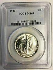 1943 Liberty Half Dollar 50C PCGS CERT MS64 UNCIRCULATED