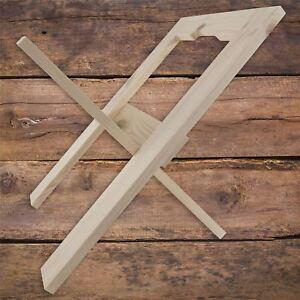 Foldable Wooden Magazine Newspaper Rack Unpainted Holder Standing Organiser