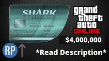GTA V 5 ONLINE SHARK CARD CASH (PS4) $4,000,000 + RP BOOST *Read Description*
