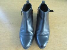 FIRETRAP BLACK LEATHER ANKLE BOOTS SIZE 39 ZIPS AT EACH SIDE