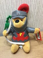 "Disney Store Winnie The Pooh Plush Soft Toy Costume Beanie 8"" NEW Knight"
