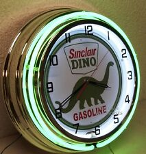 """18"""" SINCLAIR Dino Gasoline Motor Oil Gas Station Sign Double Neon Clock"""