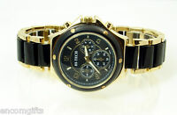Women's FASHION WRISTWATCH Ladies Black & Gold Bracelet Band CHRONOGRAPH STYLE