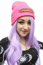 PINK STUDDED GOLD CHUNKY CHAIN BEANIE HAT STREET WEAR RAVE HIPSTER INDIE BEANIE