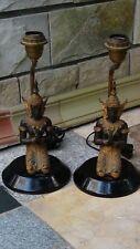 PAIR ANTIQUE ASIAN THAI FIGURAL GILT BRONZE TABLE LAMPS