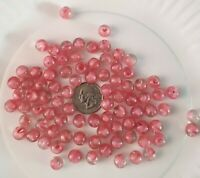 Vintage Small GLASS BEADS 85 QTY. Clear with Pink Swirl