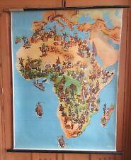 Large pictorial wallmap of Africa Wildtiere und Wildplanzen by George Westermann