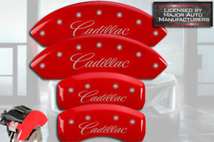"""2017-2020 """"Cadillac"""" XT5 Front + Rear Red Engraved MGP Brake Disc Caliper Covers"""