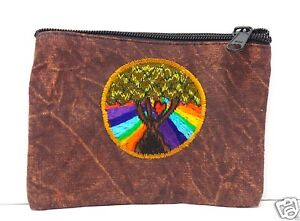 Brown Coin Purse Tree of Life Rainbow Bag Pouch Credit Card ID Holder Wallet New