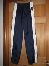 Vtg 90's Nike Tear Away Snaps Windbreaker Navy Track Pants Spell Out Logo Sz S