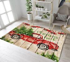 Rustic Wood Planks Christmas Red Truck Area Rugs Bedroom Living Room Floor Mat