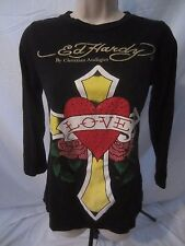 Ed Hardy Christian Audigier Embellished Graphic Black Top Shirt  Women's S CC106