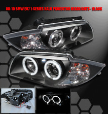 08-11 BMW E87 2DR DUAL HALO LED PROJECTOR HEADLIGHTS BLACK 128I 135I CONVERTIBLE